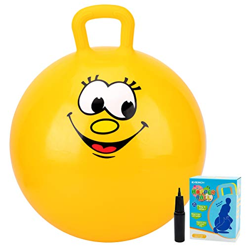 Jumping Ball Set for Kids Hopping Game Includes 1 Yellow Bouncy Ball 18 inches ,1 Pump and Comes in a Colorful Gift Box