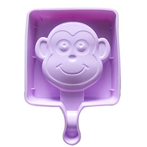 Qearly Mignon Petit Moules Silicone Ice Cream Pop Moules à Crème-Un Morceau de Singe