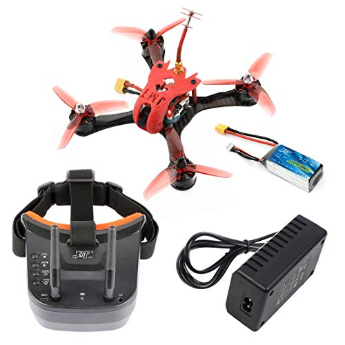 FEICHAO T180 4 Zoll 3S FPV Racing Drone HD Kamera Baby Turtle 800TVL BNF Betaflight F4 Pro V2 OSD Brushless RC Quadrocopter für FRSKY D8 (with Battery and Goggle Red)