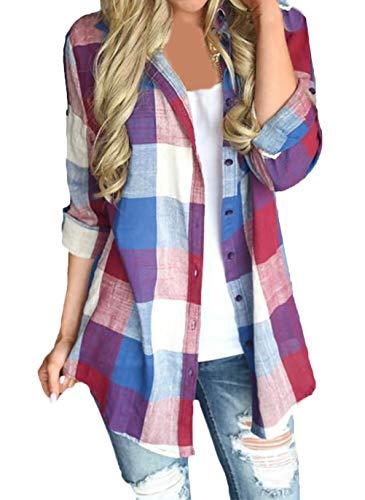 Shirt Dames Vintage Mode Blouse Plaid Klassiek Shirt Eenvoudige Glamoureuze Lange Mouw Lapel Single Breasted Casual Losse Blouses Tops Tops Lente Herfst
