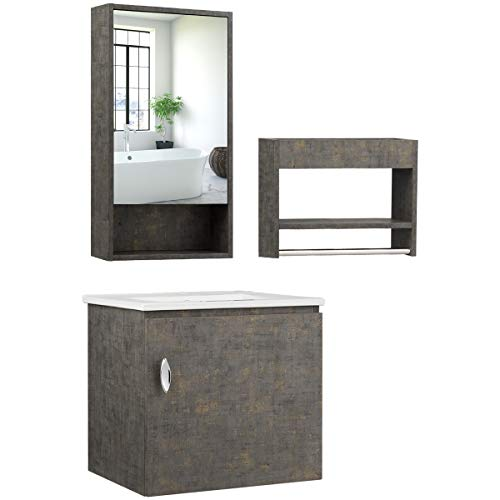 Tangkula Wall-Mounted Bathroom Vanity Set, Modern Bathroom Vanity Sink Set, Storage Cabinet Combinations with Mirror Door, Mirror Cabinet & Side Storage Rack & Main Cabinet (Grey)(Faucet Not Included)
