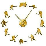 HIDFQY Reloj de paredexquisito Hockey Colgante de Pared Deportes Pared Arte Pegatina DIY Grande Jugador de Hockey sobre Hielo sin Marco Colgante de Pared Regalo Hombres 47 Pulgadas Amarillo