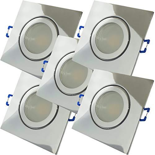 LED Bad Einbaustrahler 230V inkl. 5 x 9W SMD LM Farbe Chrom IP44 LED Einbauleuchten Neptun Eckig 4000K Deckenspots