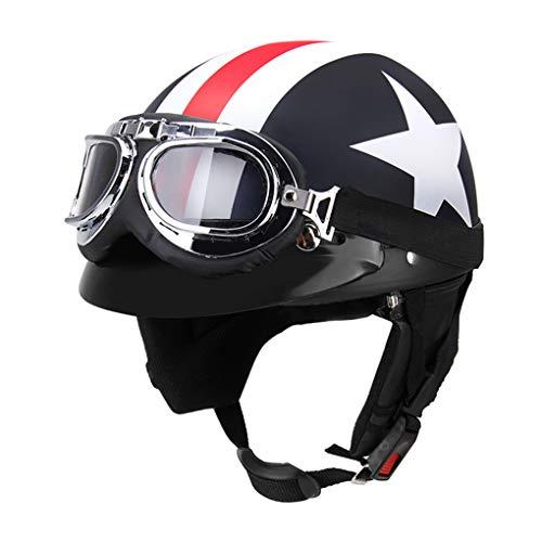 BERGORT Bicycle Helmet with Goggles Cool Helmet Retro Vintage Half Open Face Helmet for Men Women Teens