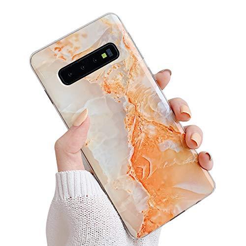 Suhctup Compatible pour Samsung Galaxy S8 Plus Marbre Coque de Protection Silicone [avec Fleurs Floral Glitter Bling Rose Gold Design Motif] Anti-Rayures Anti Choc Housse Étui(Orange)