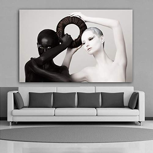 Flduod Hot koop Zwart-wit Vrouwen Poster Canvas Schilderij Moderne Woondecoratie Wall Art Pictures Voor Woonkamer Slaapkamer50x75cm