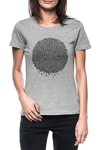 Negro Esfera Mujer Gris Camiseta Manga Corta Women