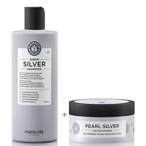 Maria Nila Sheer Silver Set - Shampoo 350ml + Colour Refresh Pearl Silver 0.20 100ml