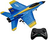 Mini RC Airplane Raptor Model F22 F-22 F16 Fighting Falcon Su 35 Sukhoi Su-35 F/A-18C Hornet Blue Angels Radio Remote Control Jet Fighter Kids Toys Beginner RC Glider (F/A-18C Hornet Blue Angels)