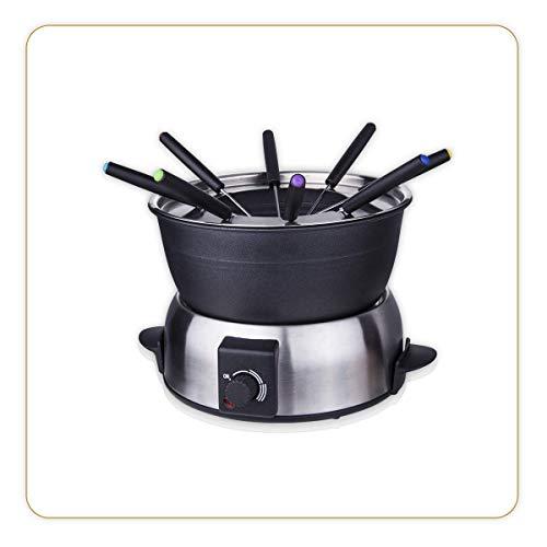 LITTLE BALANCE 8386 Fondue Elegance 8 - Appareil à fondue 8 personnes - Caquelon anti-adhésif 1,8 litres - Puissance 800 W - Finition Inox brossé prem