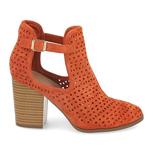shoes&blues.es 47362-Damen Ankle Boot mit Absatz, durchbrochenem Ausseren, seitlicher Offnung und Schnalle. Offene Stiefeletten im lassigen Stil, ideal fur Fruhling und Sommer. Size 39 Naranja
