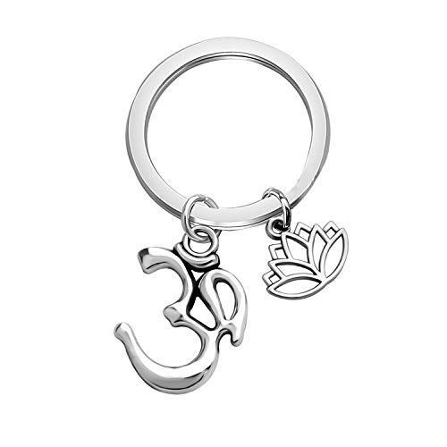 CHOORO Gift for Yoga Lovers Om Charm Keychain Lotus Flower Clip on Charm Yoga Bag Charm Zipper Pull Buddhist Jewelry Yoga Instructor Gift (Om Lotus Keychain)