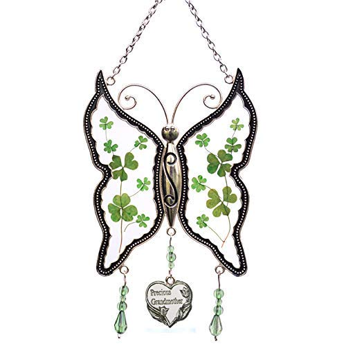 Shamrock Grandmother Butterfly Suncatchers Stained Glass Irish Celtic Suncatchers Glass-Style Art Glass Suncatchrs St Patrick's Day Decoration, Irish Gift in-Law Gift Irish Family Shamrock Suncatcher