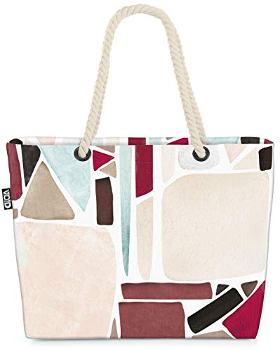 VOID Mosaik Muster Strandtasche Shopper 58x38x16cm 23L XXL Einkaufstasche Tasche Reisetasche Beach Bag