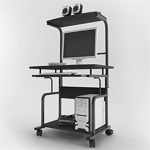 Mesa para Portátil Inicio Tabla Moderno mini computadora de escritorio de escritorio minimalista móvil turística doble Escritorio Negro para la Oficina en Casa ( Color : Black , Tamaño : As shown )