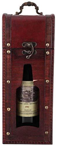 BFGJH Soporte de Caja de Botella de champán de Vino Tinto Vintage de Madera, Caja de Regalo portátil de una Sola Botella, Caja de Regalo, Estuche de Transporte, Accesorio de Vino