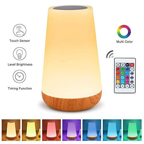 Amouhom LED Nachtlicht mit Fernbedienung, 13 Farben Touch Control Nachttischlampe, Wiederaufladbare Lithiumbatterie, Bestes Geschenk für Kinder, Freunde