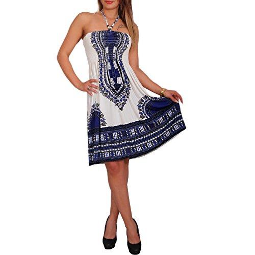 Neckholder Sommer Bandeau Kleid Holz-Perlen Damen Strandkleid Tuchkleid Tuch Aztec (33 Blau)