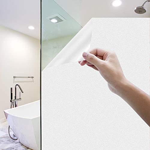 Rhodesy Milchglasfolie Selbstklebend Fenster, Homegoo Fensterfolie Selbsthaftend Blickdicht Statisch Haftende Undurchsichtige Fensterfolie für das Badezimmer zu Hause Büro (Weiß, 44 x 200 cm)