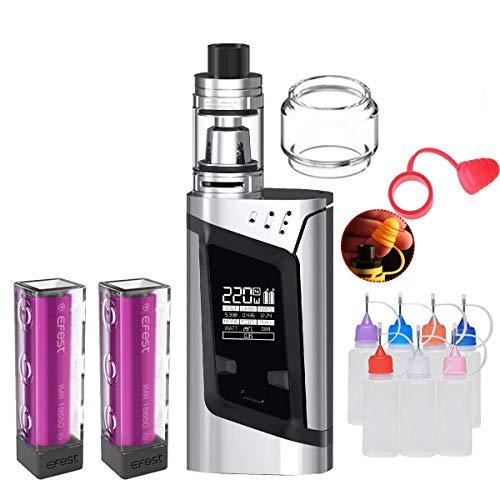 E Zigarette, Original Smok RHA220W(Alien) Kit mit TFV8 Baby Tank, Verdampfer Starter Set und 2 * 3000mAh Wiederaufladbare Efest-Batterien, Ohne E-Liquid, Ohne Nikot (Prism Chrome)