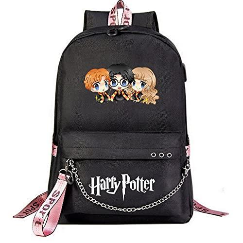 Sac pour étudiants décontracté pour Ordinateur Portable Harry-P pour Adolescents Unisexe Sac à Dos Noir , avec Prise Casque Harry p Style-3