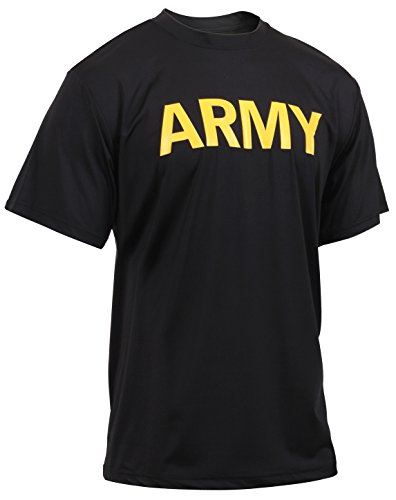 Rothco Army Physical Training Shirt, Black/Gold,Large