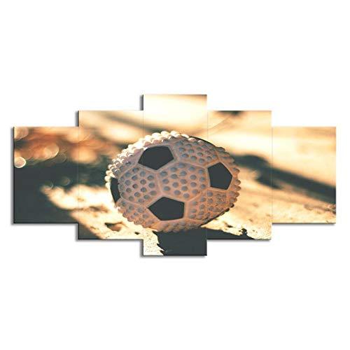 Swlydddm Leinwanddruck 5 Stück – Sport Fußball – Wandbilder auf Leinwand, moderne Wohnzimmer-Dekoration, fertig zum Aufhängen – GW-25391SA