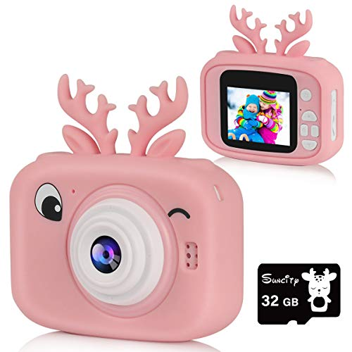 Suncity Kids Camera for Girl Gifts Toys Digital Cameras for 2 3 4 5 6 7 8 9 10 11 Years Old Kids 2 Inch Screen Video Camcorder with 32GB Card Reindeer Cartoon Case Toddler Christmas Birthday Gift,Pink