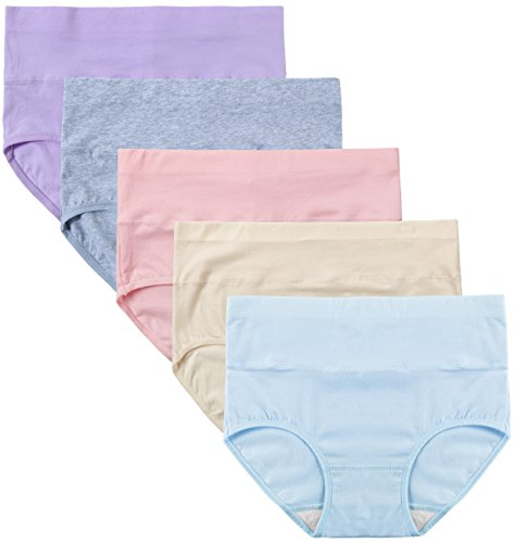 INNERSY Women's High Waist Cotton Wavy Macaroon Color Ultra Cozy 5 Pack Brief 1 M