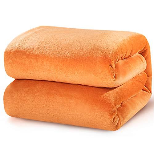 Bedsure Manta para Sofás de Franela 230x270cm - Manta para Cama 180 Reversible de 100% Microfibre Extra Suave - Manta Naranja Transpirable
