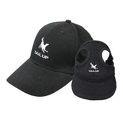 perfk Unisex Baseball Cap Kappe und Hundecap Hundehut Baseballmütze für Hunde und Besitzer - Schwarz, L