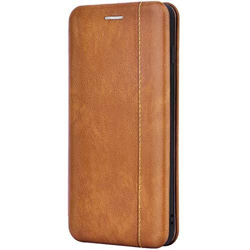 Leaum Leder Handyhülle für Samsung Galaxy S10 Hülle, Premium Handytasche Flip Hülle Schutzhülle für Samsung S10 Etui Tasche (Braun)