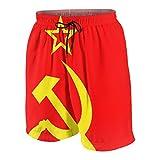 Hommes Short de Bain,Icône de Communisme de l'URSS avec Marteau et Logo de l'Union Faucille ou Drapeau avec Symbole du soci,Maillot de Bain Vêtements de Plage Tenue de Sport avec Doublure en Maille