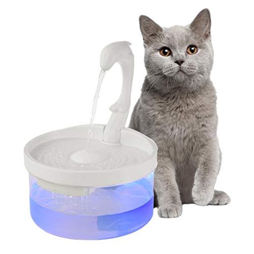 osmanthus 2L Trinkbrunnen Für Katzen   Delphin Form   Schwanenhals Automatische Schleife Wasserbrunnen   Transparent   Mit Filter Baumwolle   Super leise