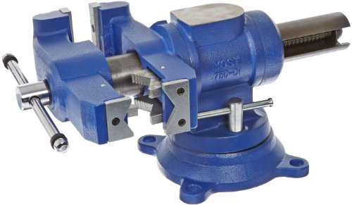 "Yost Tools 750-DI, 5"" EXTREME-DUTY, 2X Stronger, Bench & Pipe Vise. Universal Double Swivel Vise: Head Rotates 360° Vertically, Body Rotates 360° Horizontally In The Interlocking Geared Swivel Base, Blue"