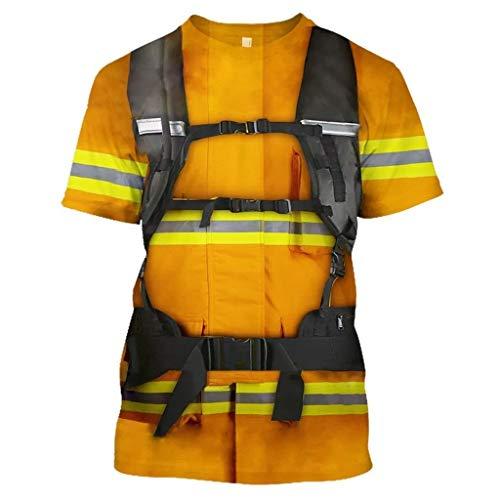 DNOQN Herren Beiläufig 3D Feuerwehrmann Stil Drucken O-Ausschnitt Kurzarm Bluse Oben T-Shirt