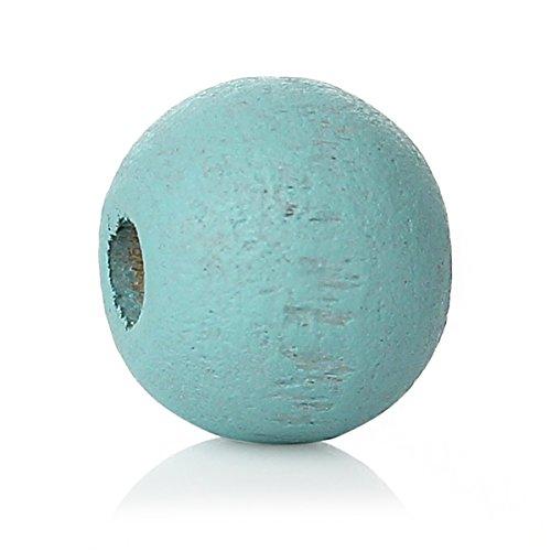 siaura material®–1000unidades redondas perlas de madera, color azul, D. 6mm, orificios 2,1mm