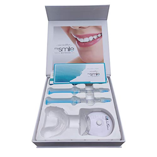 Zahnaufhellung Set - Das Original, Weißere Zähne, Teeth Whitening Kit, Bleaching für weisse Zähne, Zahn aufhellen mit Schiene, Gel & LED Licht, Zahnbleaching Zuhause - White Smile ohne Peroxid