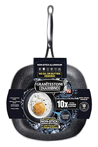 GRANITESTONE 2148 Shallow Square Pan, Non-stick and Scratchproof Fry Pans, Diamond Infused Coating No-warp, Mineral-enforced Cookware, Dishwasher and Oven Safe, PFOA-Free As Seen On TV (11 inch)