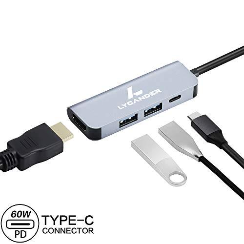 LYCANDER USB C Hub, 4 In 1 Type C Hub met 4K HDMI, 2x USB 3.0 poorten, USB C Power Delivery, Draagbare Hub voor MacBook Pro en andere Type-C apparaten