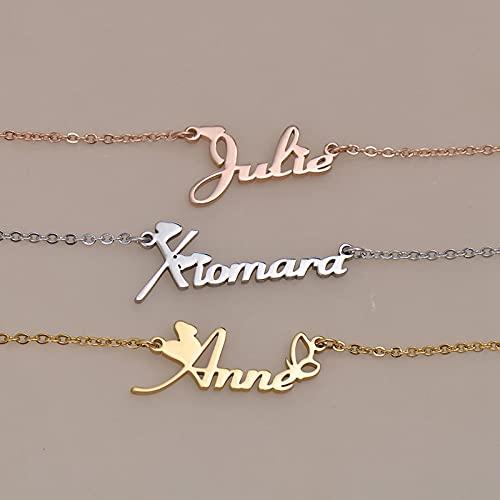 MIKUAX collarNome de Colar Personalizado aço inoxidável gargantilha Feminino banhado a Ouro Alfabeto Carta pingente jóias Amigos Presente