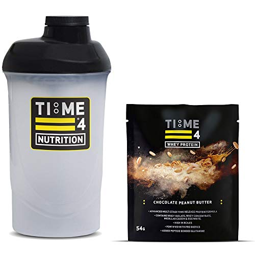 Time 4 Nutrition 700ml Protein Shaker Bottle + Single Serving Sachet of Time 4 Whey Protein Our Premium Time Release Whey Protein Blend (Chocolate Peanut Butter)