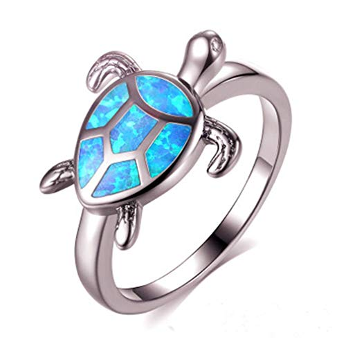 GUAngqi Jewelry Synthetic Opal Inlay Nautical Sea Turtle Ring for Women Fashion Accessary,Silver,Size 9
