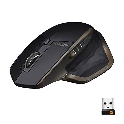 Logitech MX Master Mouse Wireless Amz, Bluetooth 2.4 GHz Con Mini Ricevitore USB Unifying, ‎Tracciamento Laser 1000 DPI Qualsiasi Superficie, 5 Pulsanti, Versione Amazon, PC Mac Laptop, ‎Nero Grafite
