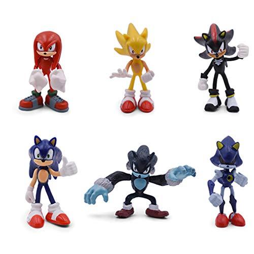 EASTVAPS 6pcs Sonic The Hedgedog Figura Doll Decoration
