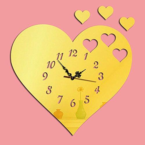 horloge murale Date 3D en Forme de Coeur DIY Acrylique Miroir Stickers Muraux pour Salon Décor À La Maison (Couleur : Or)