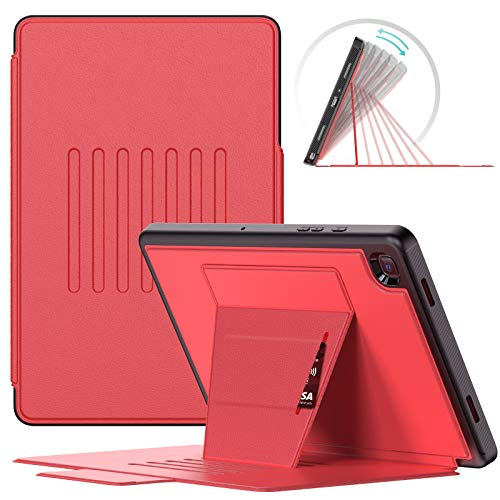 "SEYMAC Galaxy Tab A7 10.4"" Case, Samsung Tab SM T500/T507/507 Cover, Slim Shockproof 7 angles Stand Cover with Card Slots, Super Protective Smart Case Kids Support Auto Sleep/Wake for Tab A7 2020 -Red"
