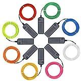 EL Kabel Neon Beleuchtung leuchtschnur, El Wire Kit (8er Pack, je 3 m, Rot, Grün, Pink,...