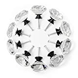 2 inch glass drawer pulls - YDO Drawer Knobs, Black Alloy Base Crystal Knobs, Diamond Shape Glass Dresser Knobs, 1.57 inch Large Dresser Handles, Bling Knobs for Dresser Drawers, Kitchen Cabinet Knobs and Pulls, 10 Pieces, Clear