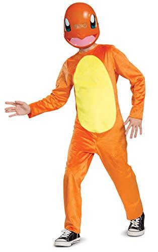Pokemon Charmander - Disfraz infantil para nios, talla mediana (7-8), color naranja